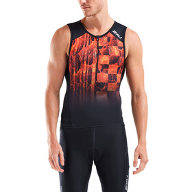 2XU Perform Tri Canottiera Uomo, black/flame ombre